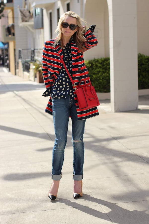 atlantic pacific stripes polka dots denim jcrew jacket red white blue