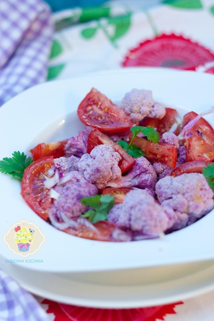 sałatka z fioletowym kalafiorem, sałatka kalafior, fioletowy kalafior, fioletowy kalafior przepis