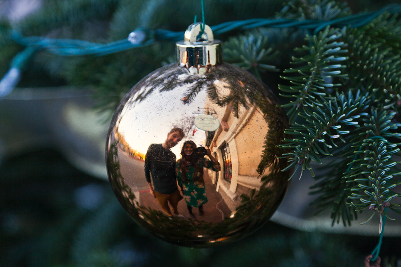 The Danish-inspired town of Solvang, California, reflected in a Christmas ornament