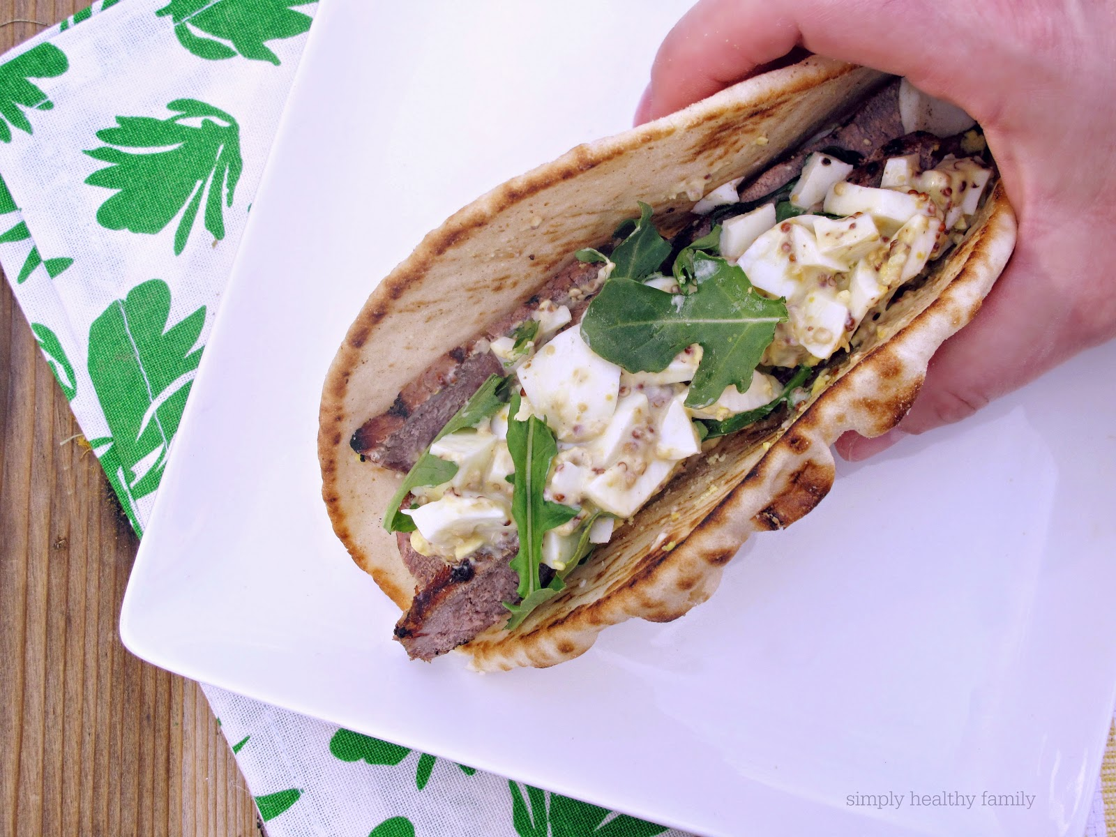 Grilled Steak and Deviled Egg Pita Sandwiches   #SundaySupper