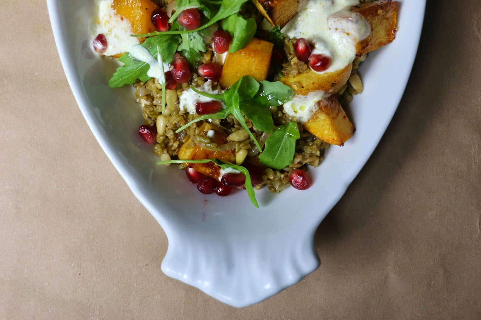 Freekeh Salad with Roasted Caramelised Swede, Pomegranate Seeds and Turmeric Yoghurt