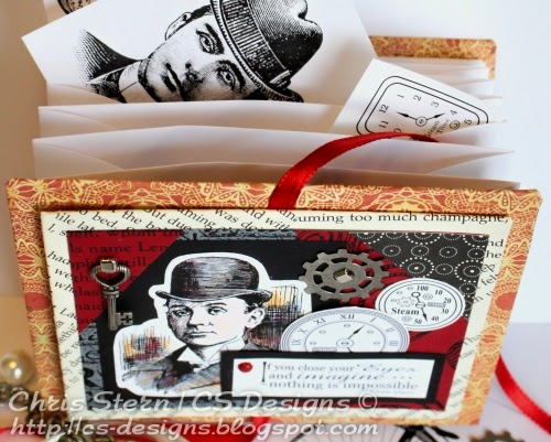 steampunk digital stamp recycled art envelope book