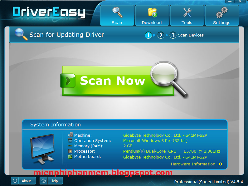Giao diện Driver Easy 4.5.4 lên Professional