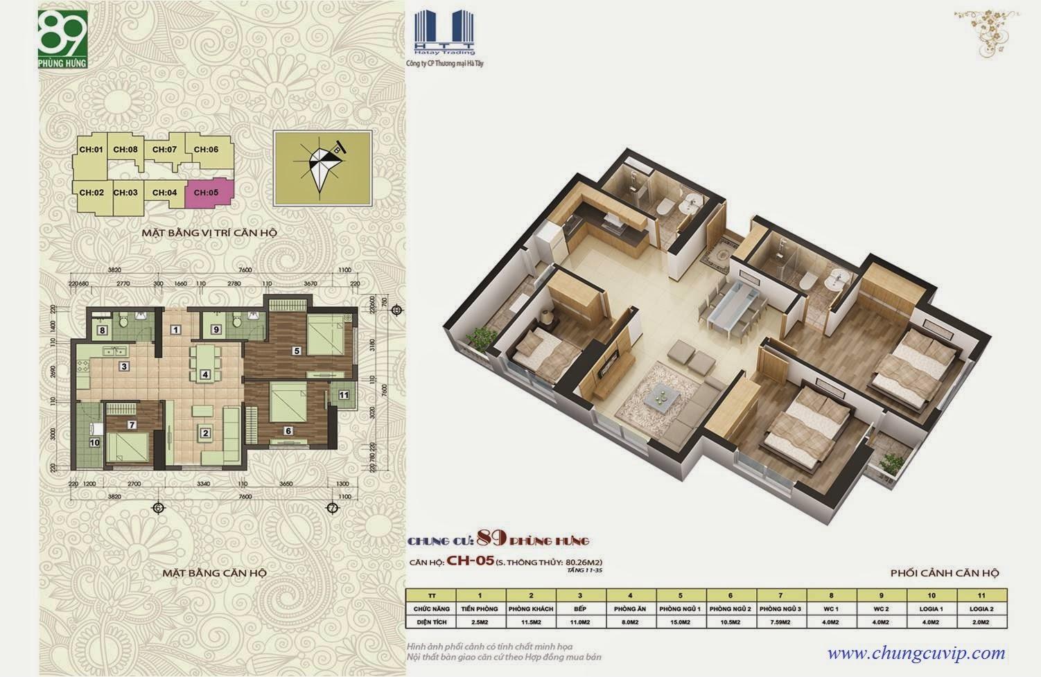 Chung cư 89 Phùng Hưng, Căn81,50 m2