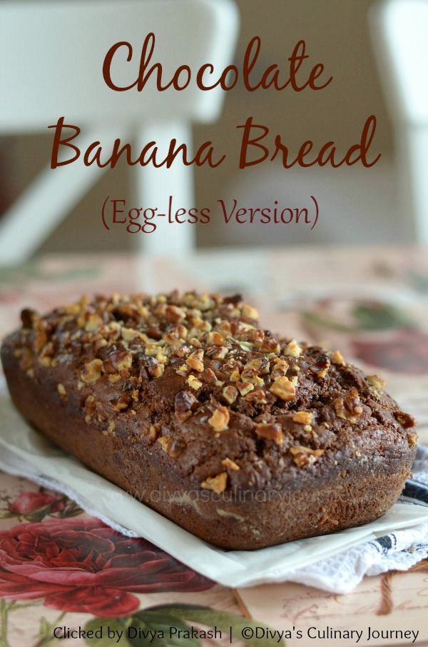 Chocolate Banana Bread made without eggs