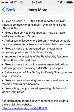 Apple releases iOS 8.0.2 to fix the problems caused by the 8.0.1 update