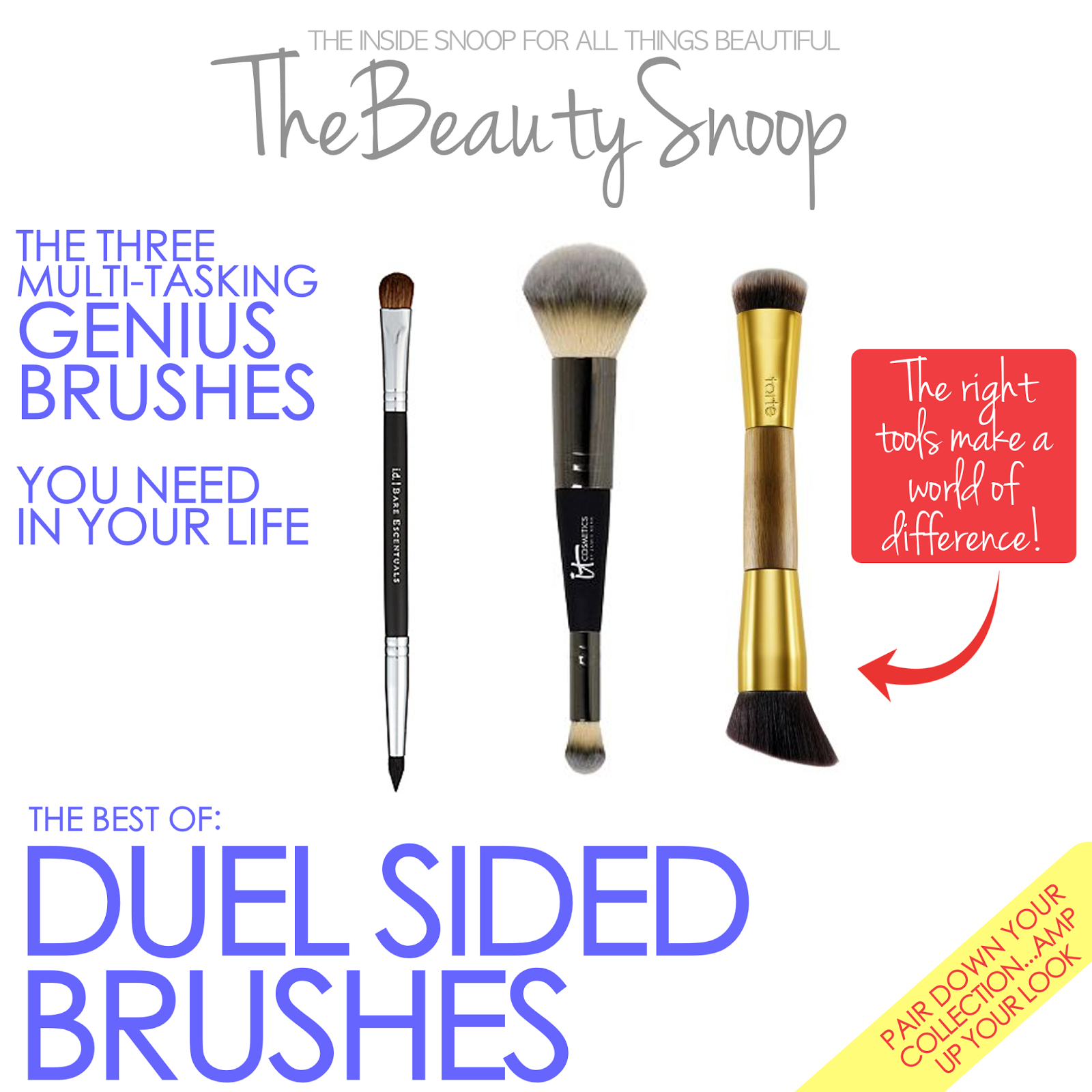 It Cosmetics, Tarte Cosmetics, Bare Essentials makeup brushes
