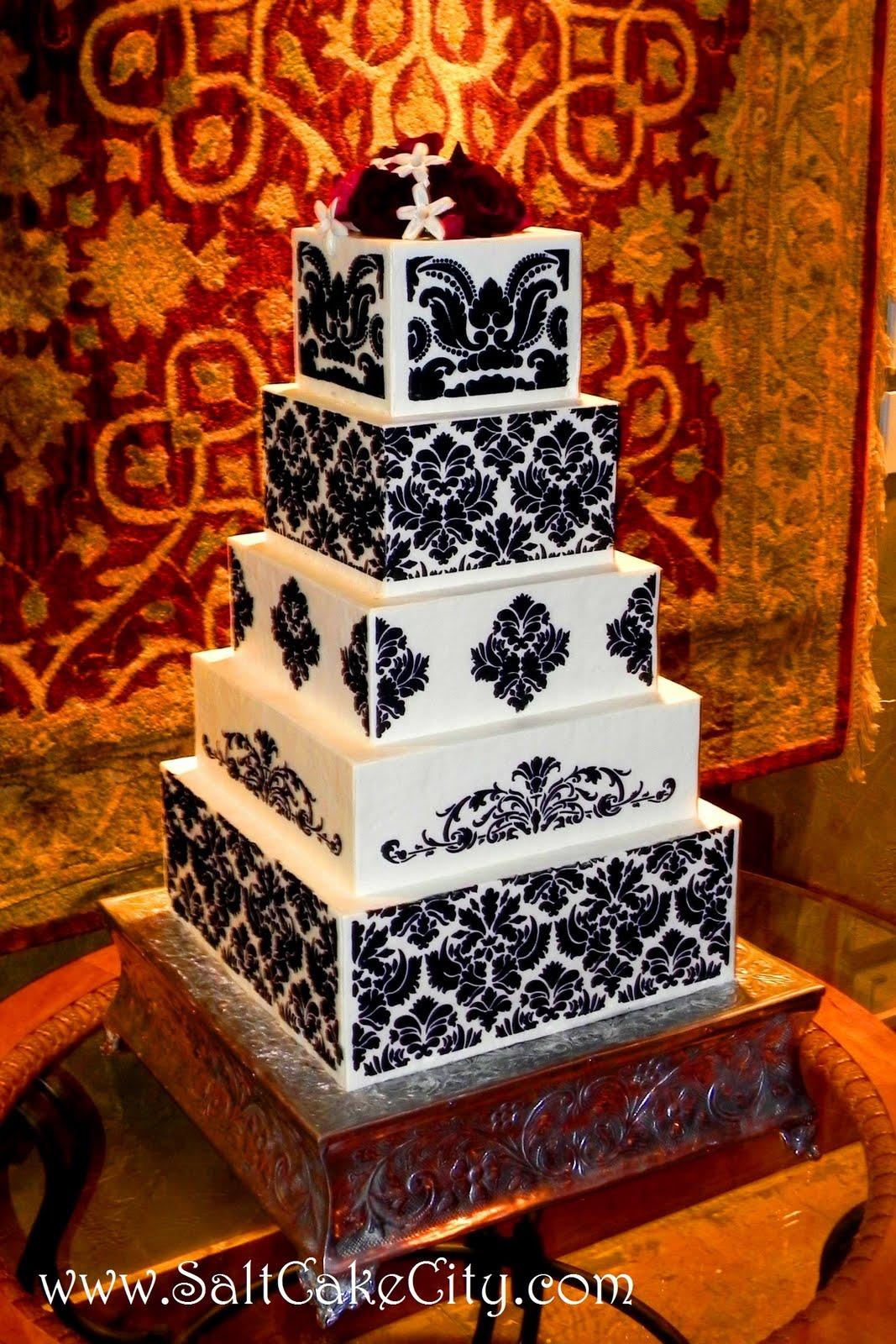 Salt Cake City 5 Tier Black and White Damask Cake