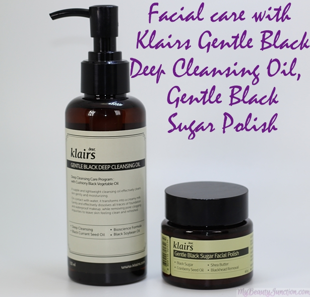 Facial care with Klairs Cleansing Oil and Sugar Polish