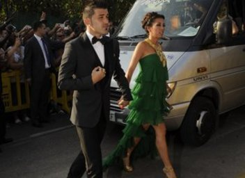 David Villa , new signing from Atletico,  and his wife Patricia at xavi marriage