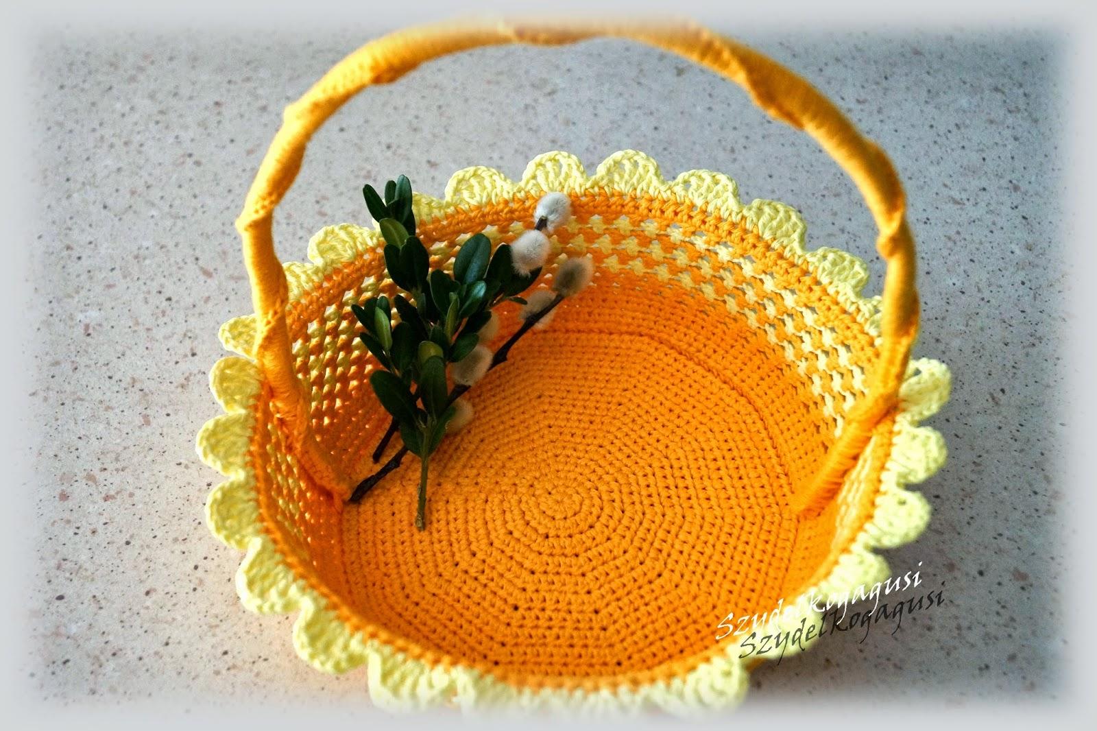 Wielkanocny koszyk na szydełku