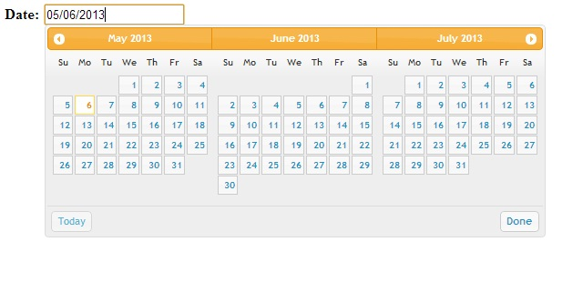 How to Show multiple months in datepicker calendar control using jQuery in c#