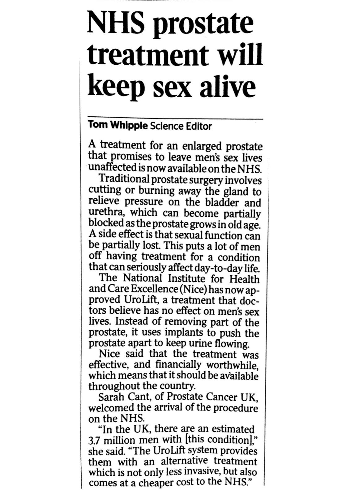 professor t a mcnicholas urology urolift keeping sex alive sunday times