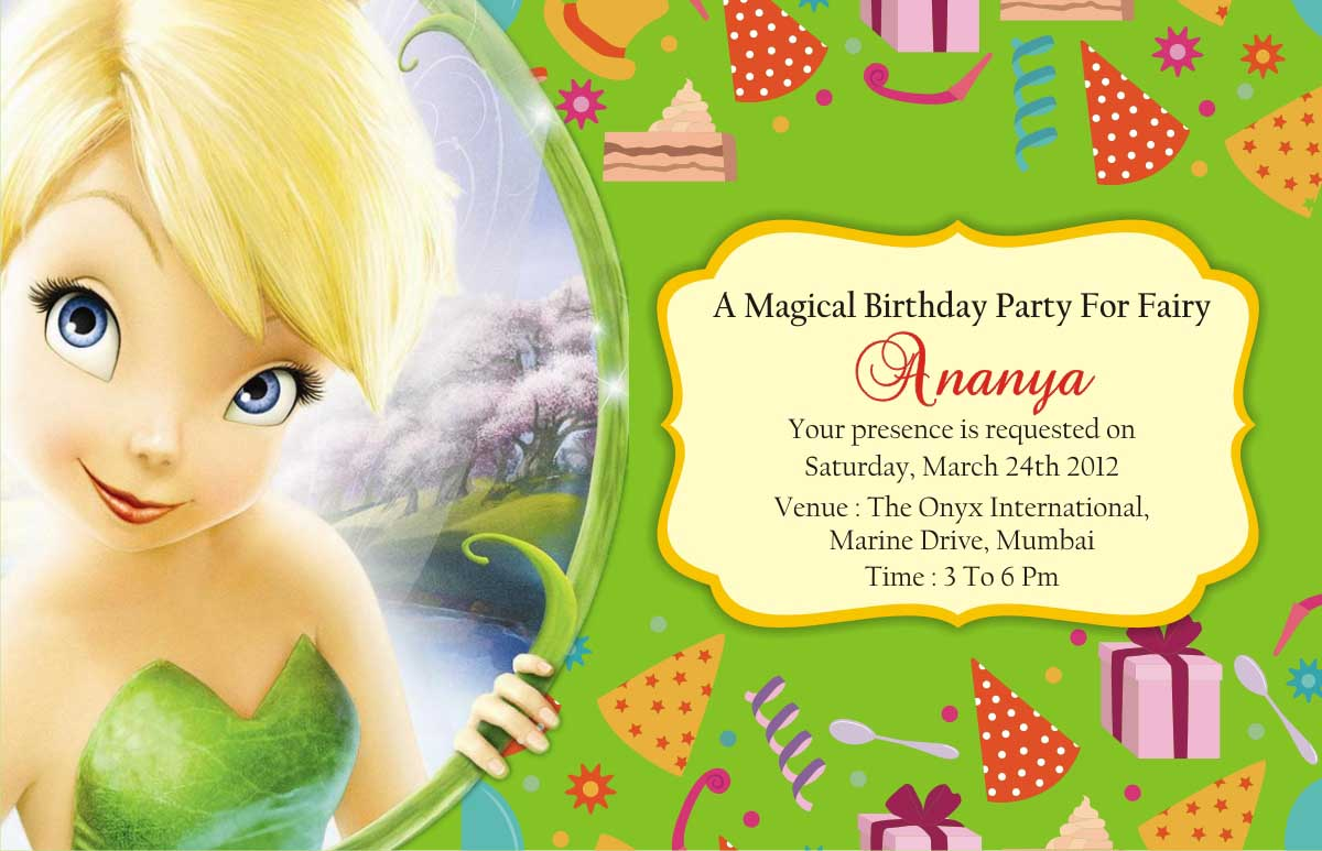... Gifts Mumbai : TINKER BELL THEME BIRTHDAY PARTY INVITATION CARD MUMBAI