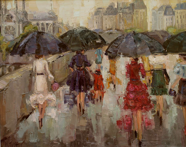 kathryn trotter art, www.kathryntrotterart.com, fashion inspired paintings, Dancing in the rain, umbrella girl in red dress, umbrella girl painting in yellow dress, Parisian ladies, Left Bank Ladies