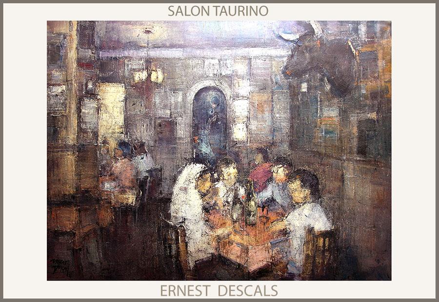 SALON TAURINO-PINTURAS-TOROS-PINTURA-ESPAÑA-TAUROMAQUIA-CUADROS-PINTOR-ERNEST DESCALS-