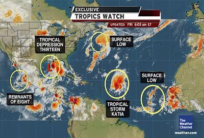 Ein erster Ausblick auf den 2. September 2011, Katia, Lee, Maria, September, 2011, aktuell, Hurrikansaison 2011, Satellitenbild Satellitenbilder, Golf von Mexiko, Louisiana, New Orleans
