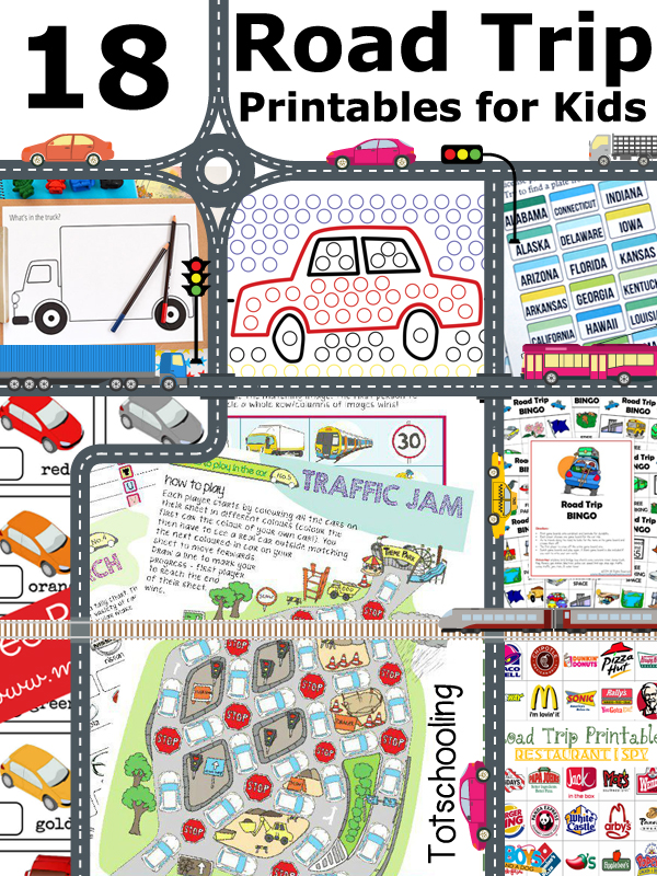 free road trip printables for kids - Printing Activities For Preschoolers