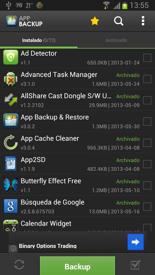App Backup & Restore realizar backup