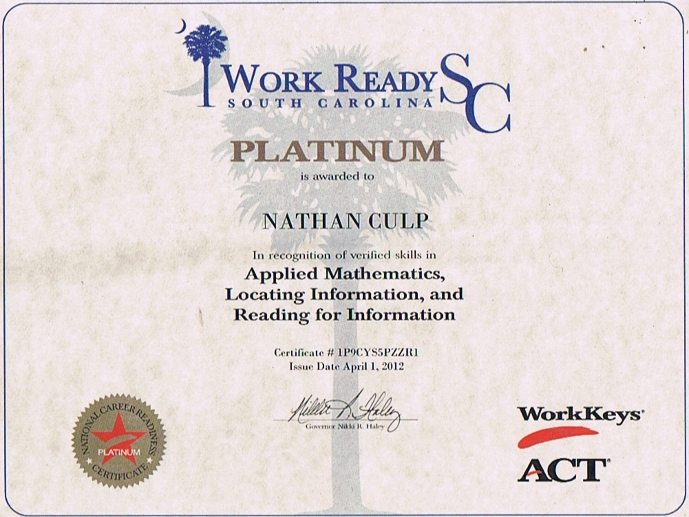 Nathan Culp\'s Work Skills: CERTIFICATES AND ACHIEVEMENTS