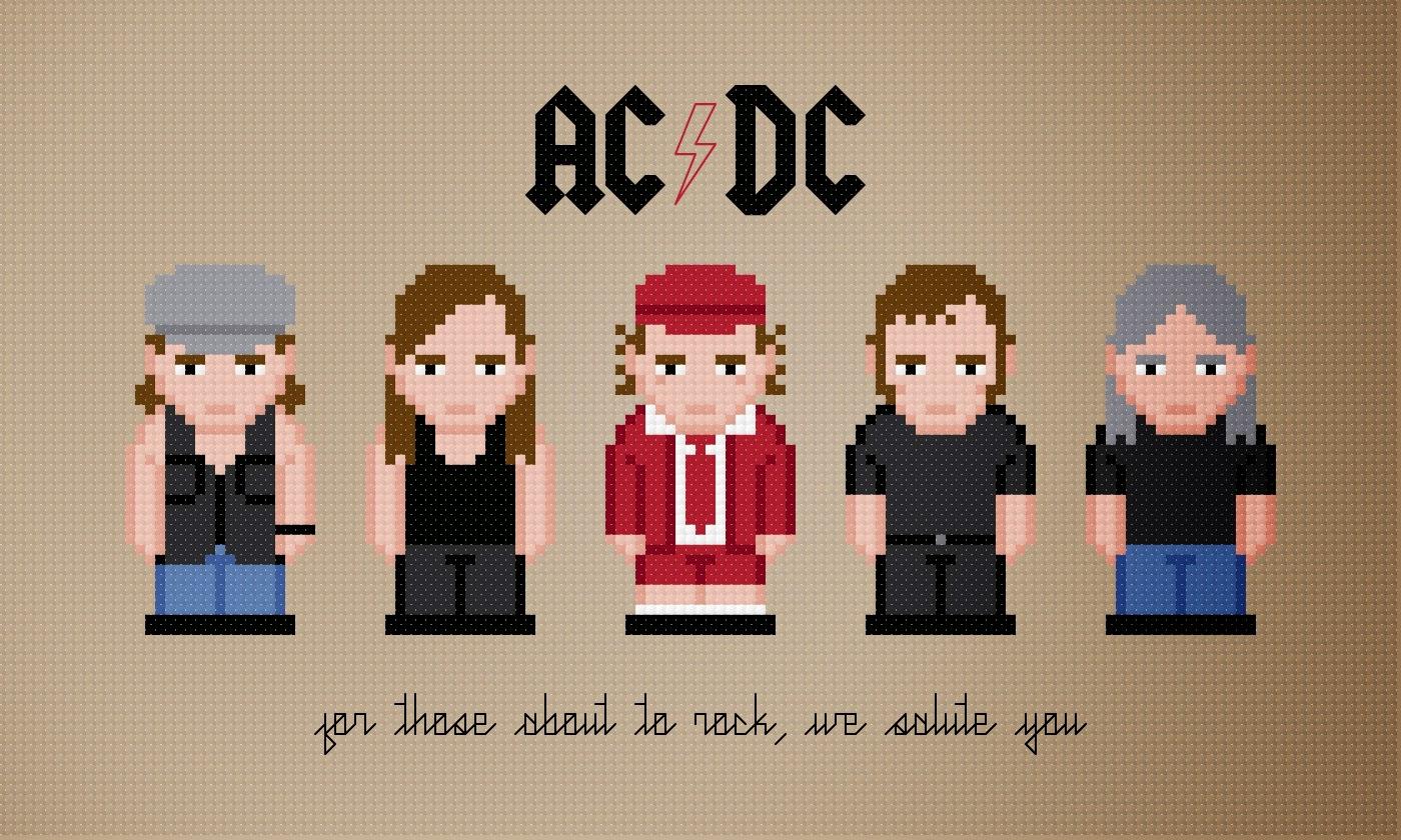 AC/DC - Cross Stitch PDF Pattern Download