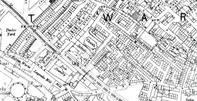 Snip from an 1890s map of Bradford showing Laycocks Mill and the bobbin mill next door, both on Thornton Road