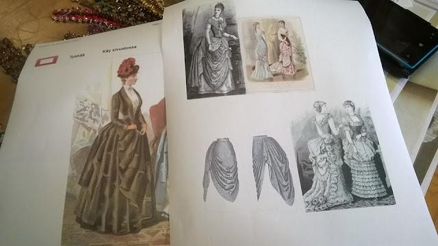1880-luvun muotipiirroksia inspiraatioksi pukuihin.