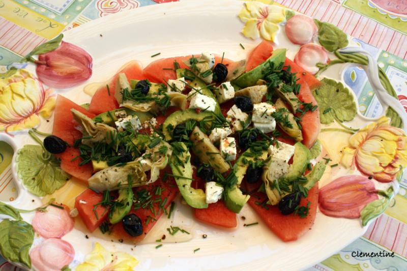Le blog de clementine salade de past que et avocat - Salade de pasteque ...
