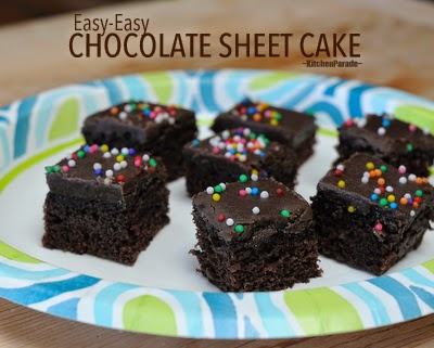 Easy-Easy Chocolate Sheet Cake, dark, moist, chocolate-y. No mixer required.