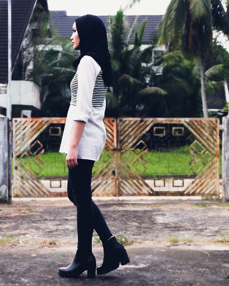 HEY BASH Brunei Style hijjabi styling a black and white outfit