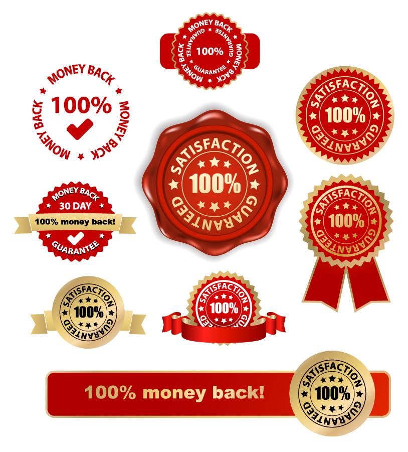 優勝メダルと保証バッジ Gold decorative badge medal vector イラスト素材2