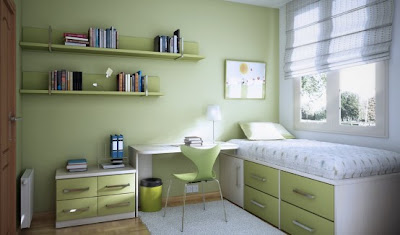 Cool Teen Green Dorm Room layout for guys
