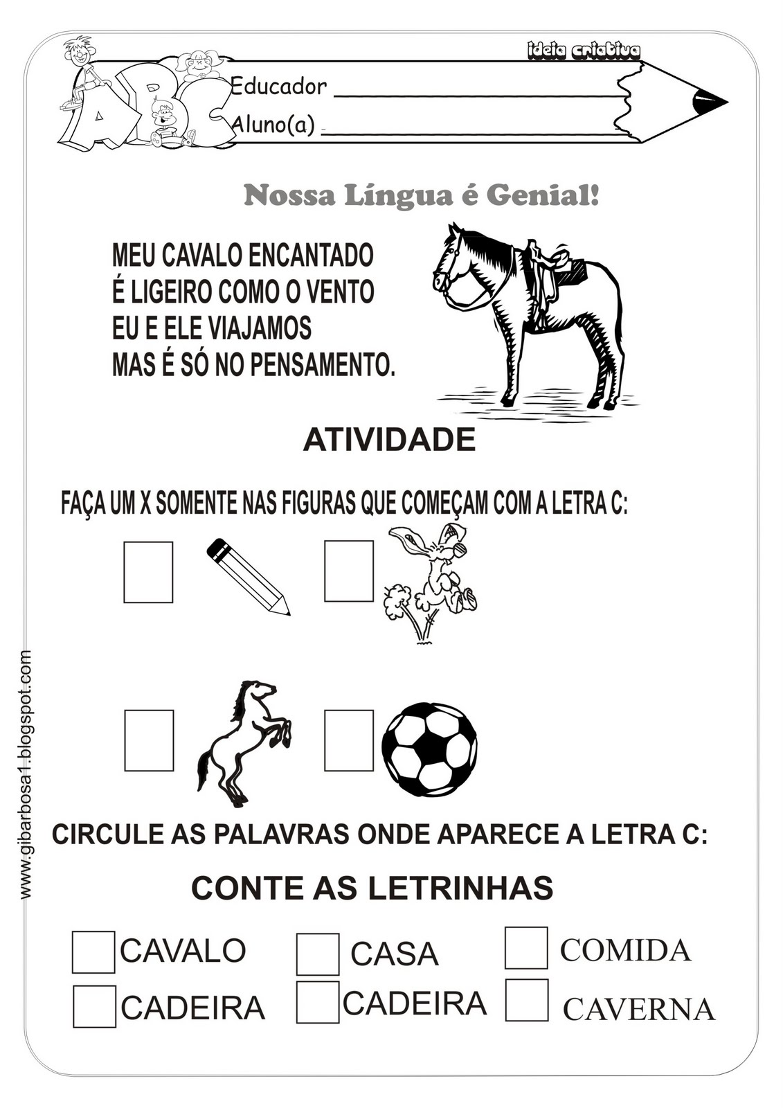 Atividade Língua Portuguesa Alfabeto com Versos