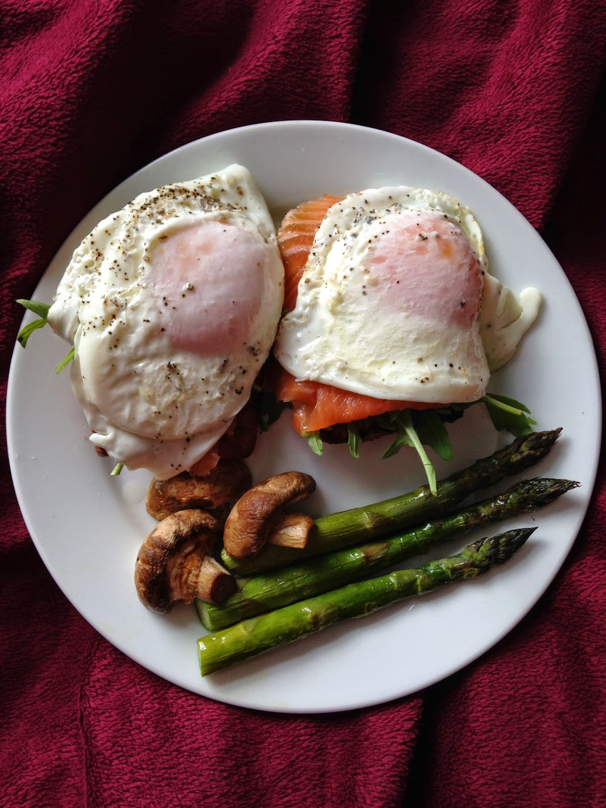 Ds Gluten Free ciabatta roll slightly toasted with smoked tuna, fried egg, mushrooms and steamed asparagus.