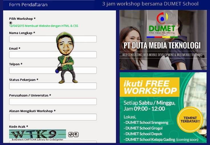 Form Pendaftaran Workshop Gratis DUMET School