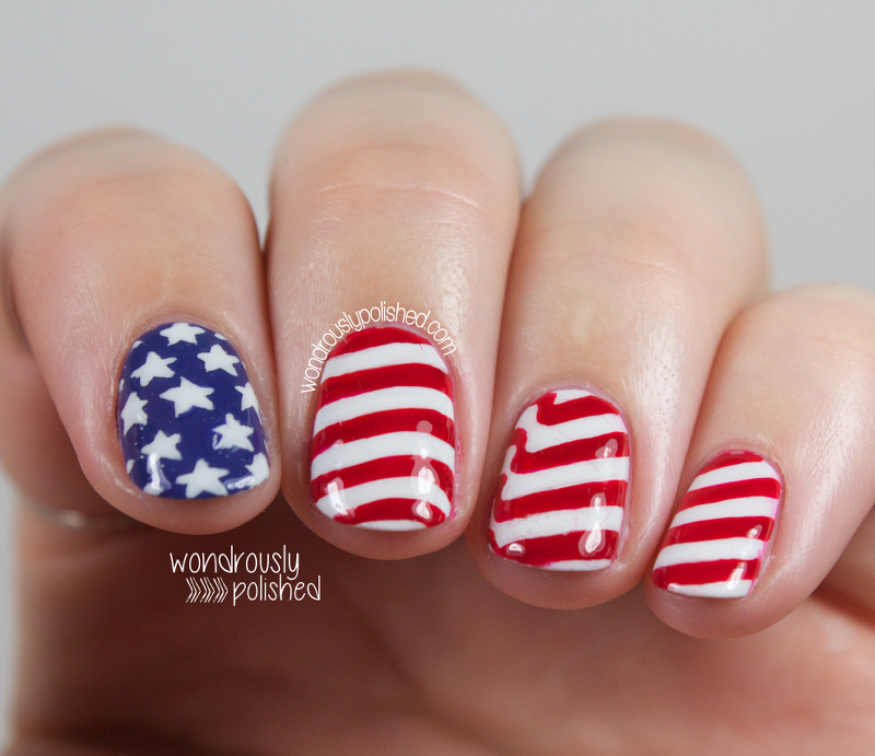 Wondrously polished happy fourth of july american flag for 4th of july nail art decoration flag