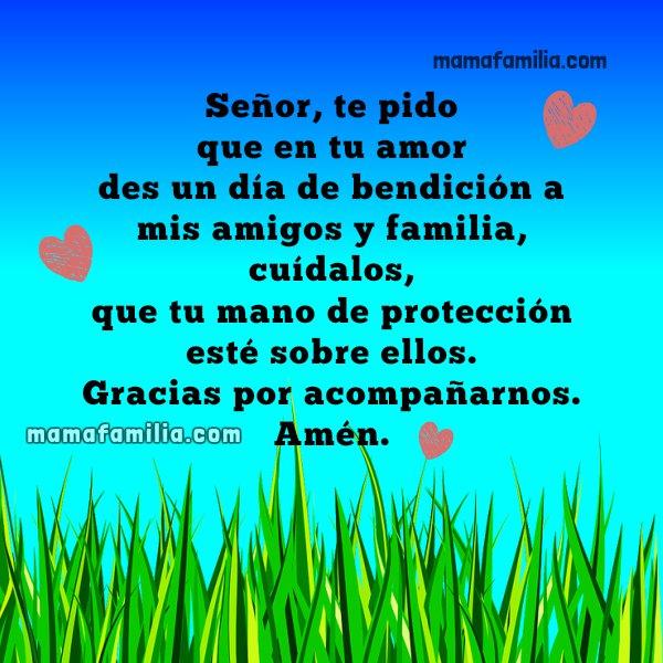 oración corta por la familia y los amigos, frases con oraciones de mamá y familia por Mery Bracho. Plegarias, oraciones a Dios cortas.
