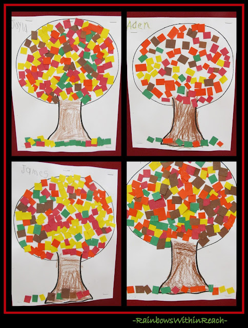 Autumn Trees with Mosaic Construction Paper (via RainbowsWithinReach)