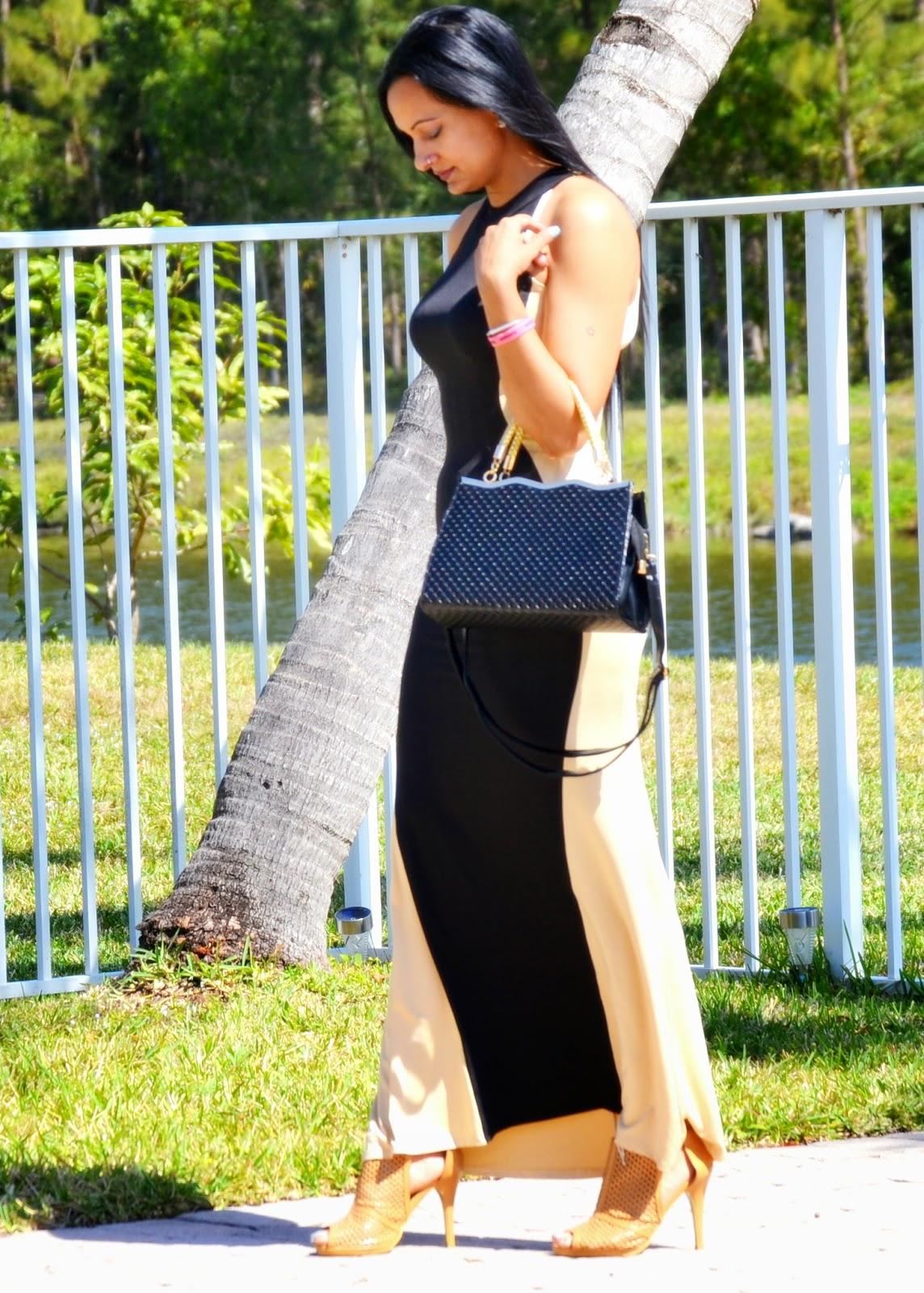 Halter Two-tone Evening Dress handbag oasap www.sandysandhu.co