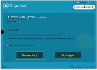 Cara Unroot Lenovo A390 dengan Kingo ROOT