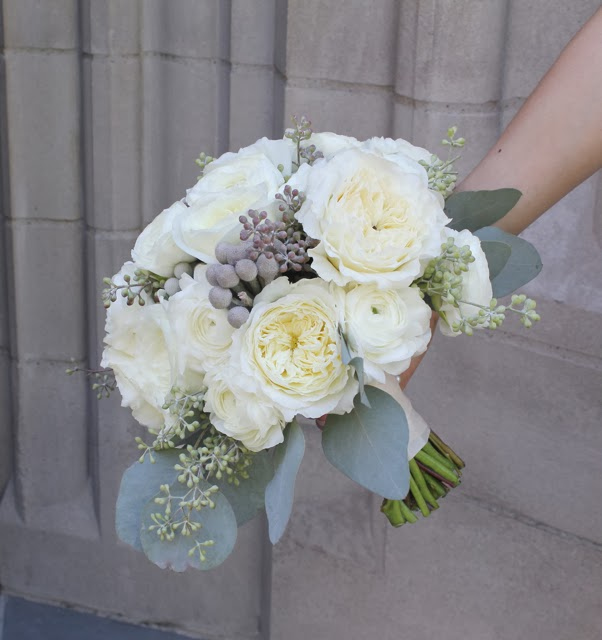 brides bouquet ivory garden roses and ranunculus mounded textured organic fall ann arbor detroit wedding by sweet pea floral design for UMMA seeded eucalyptus silver dollar eucalyptus silver brunia