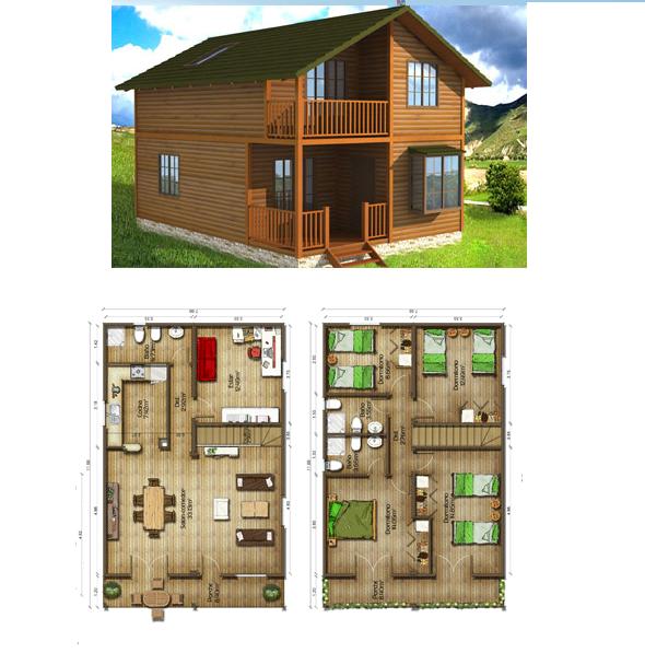 Casas de madera en espa a plano casa de madera 154 m2 - Planos casa de madera ...