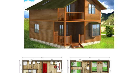 Casas de madera en espa a plano casa de madera 154 m2 - Planos de casas en espana ...