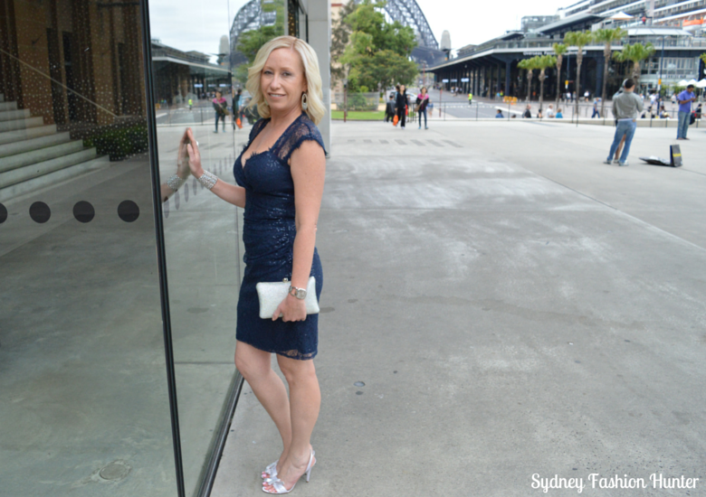 Sydney Harbour Bridge, Museum Of Contempory Art, Events navy sequin dress, Crystal Clutch, Nine West Sweeti Sandals