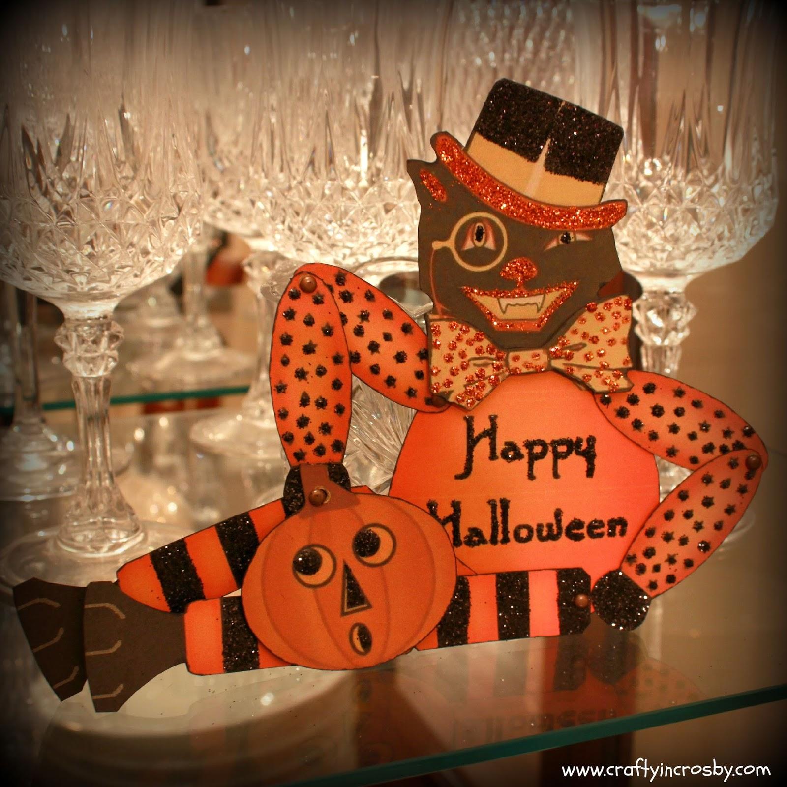 Vintage Halloween Cat Paper Doll