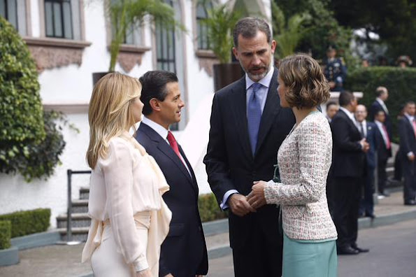 King Felipe VI of Spain and Queen Letizia of Spain, Enrique Peña Nieto, President of Mexico and Angelica Rivera, First Lady of Mexico, during a reception given by Mexican President Enrique Peña Nieto and his wife First Lady Angelica Rivera