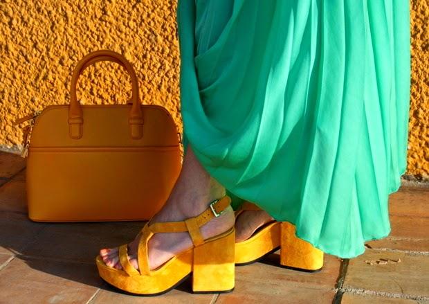 sandalias plataforma amarillas