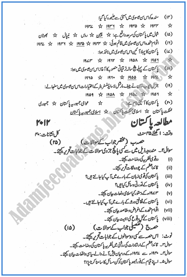 Pakistan-Studies-urdu-2012-past-year-paper-class-XII