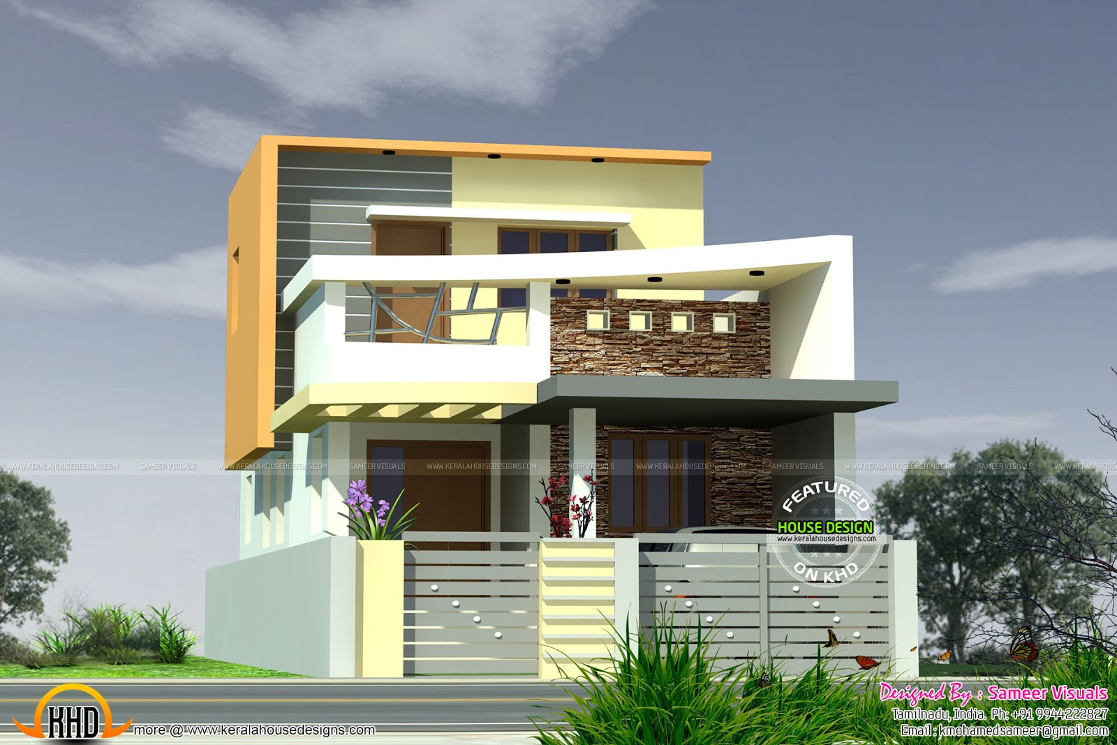 1390 sq ft modern tamilnadu house kerala home design and for Tamilnadu house designs photos