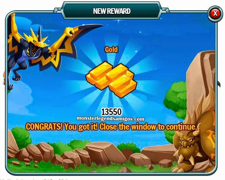 imagen del premio gratis de oro de monster legends